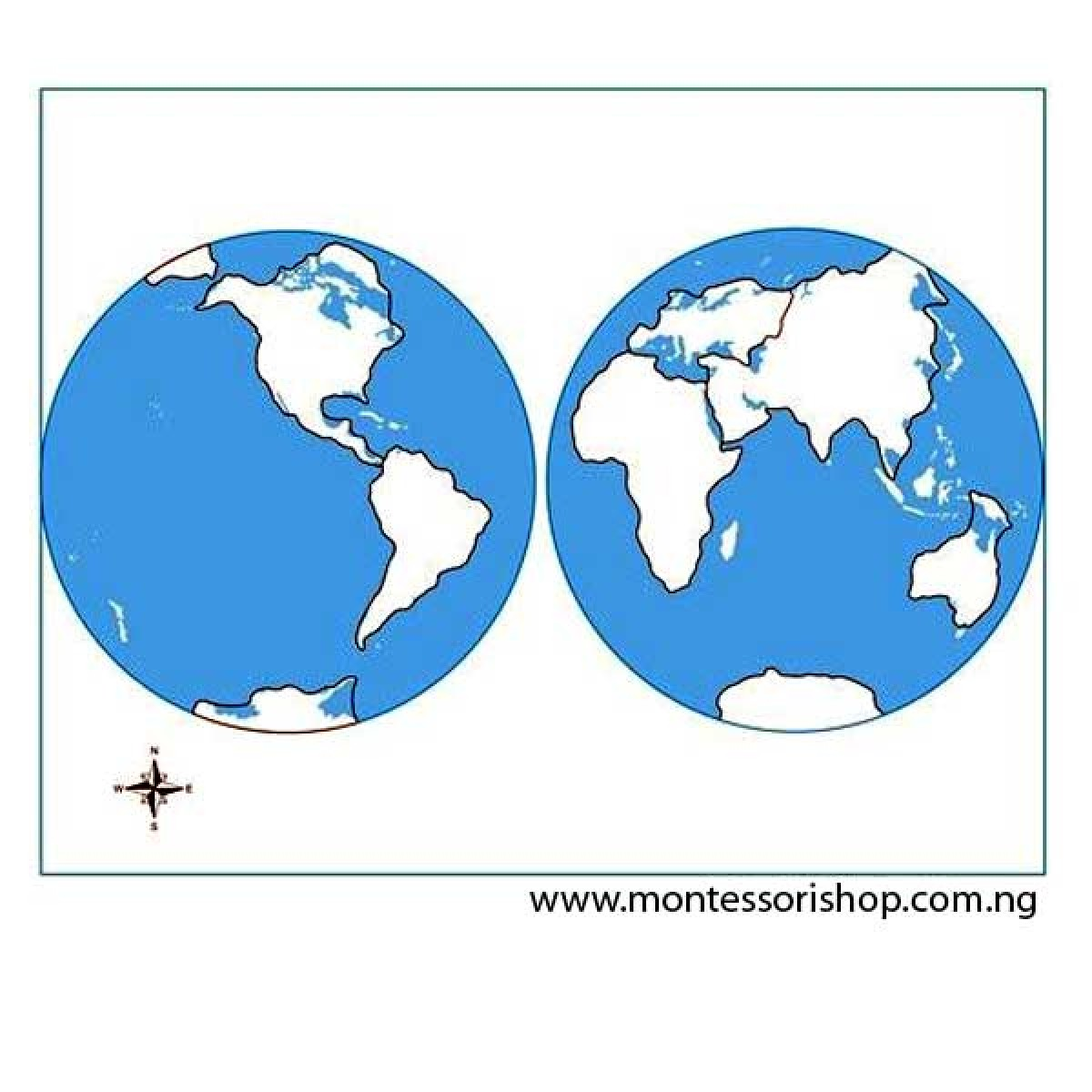 Unlabeled World Parts Control Map - Geography - Montessori